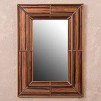 Reverse-painted glass wall mirror, 'Colonial Earth' - Rectangular Reverse-Painted Glass Wall Mirror from Peru