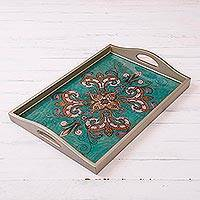 Reverse-painted glass tray, 'Enchanting Flowers in Teal' - Floral Reverse-Painted Glass Tray from Peru