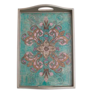 Floral Reverse-Painted Glass Tray from Peru