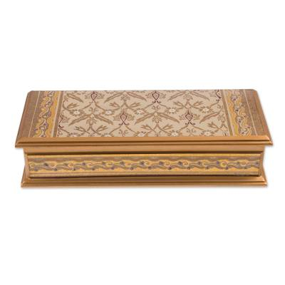 Reverse-painted glass decorative box, 'Golden Colonial Elegance' - Gold-Tone Reverse-Painted Glass Decorative Box from Peru