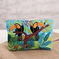 Cotton blend clutch, 'Toucans in the Jungle' - Toucan-Themed Cotton Blend Arpillera Clutch from Peru