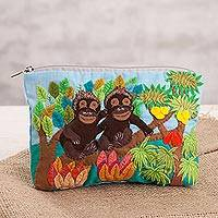 Cotton blend clutch, 'Monkeys in the Jungle' - Monkey-Themed Cotton Blend Arpilleria Clutch from Peru
