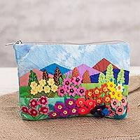 Cotton blend clutch, 'Floral Landscape' - Floral Cotton Blend Arpilleria Clutch from Peru