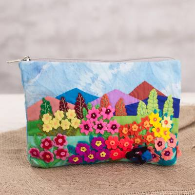 Cotton blend clutch, Floral Landscape