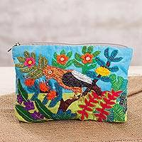 Cotton blend clutch, 'Roosters Among Flowers' - Rooster-Themed Cotton Blend Arpillera Clutch from Peru