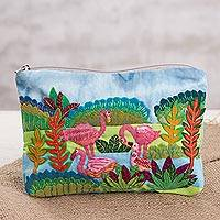 Cotton blend clutch, 'Flamingo Charm' - Flamingo-Themed Cotton Blend Arpilleria Clutch from Peru