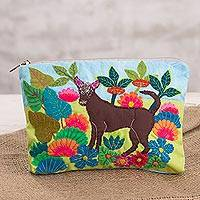 Cotton blend clutch, 'Peruvian Dog' - Dog-Themed Cotton Blend Arpillera Clutch from Peru