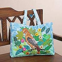 Cotton blend tote, 'Rooster Among Flowers' - Rooster-Themed Cotton Blend Arpillera Tote from Peru