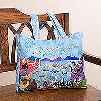 Cotton blend tote, 'Peruvian Biodiversity' - Animal-Themed Cotton Blend Arpillera Tote from Peru