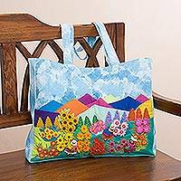 Cotton blend tote, 'Floral Landscape' - Cotton Blend Arpilleria Patchwork Tote from Peru