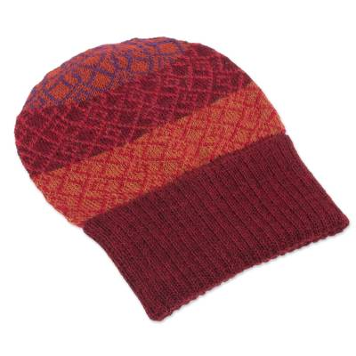 100% alpaca hat, 'Diamond of the Andes' - Diamond Motif Knit 100% Alpaca Hat in Red from Peru