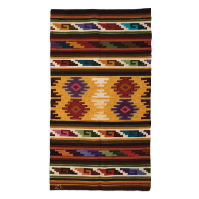 Wool area rug, 'Colorful Andes' (3x5) - Handwoven Geometric Wool Area Rug from Peru (3x5)