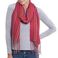 Alpaca blend scarf, 'Vibrant Chevrons' - Chevron Motif Alpaca Blend Wrap Scarf in Red from Peru