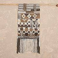 Wool tapestry, 'Geometric Texture' - Handwoven Geometric Wool Tapestry from Peru