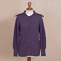 100% alpaca cardigan, 'Amethyst Majesty' - Knit 100% Alpaca Cardigan in Amethyst from Peru