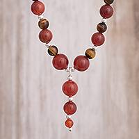 Carnelian and tiger's eye Y-necklace, 'Planetary Fire' - Carnelian and Tiger's Eye Beaded Y-Necklace from Peru