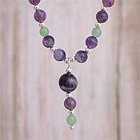 Amethyst and aventurine Y-necklace, 'Planetary Mysticism' - Amethyst and Aventurine Beaded Y-Necklace from Peru