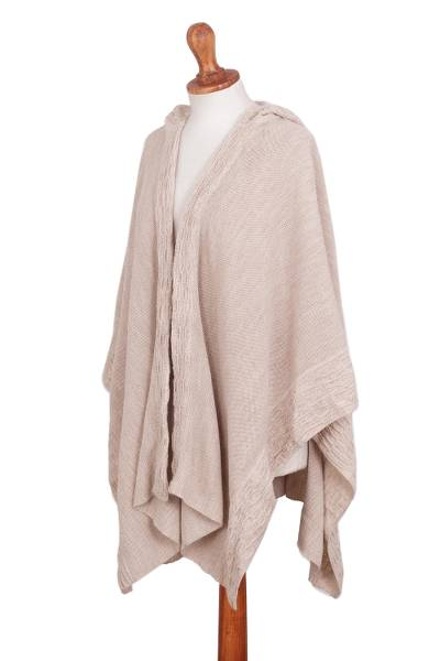 Alpaca blend hooded ruana, 'Inca Queen in Ivory' - Knit Alpaca Blend Hooded Ruana in Ivory from Peru