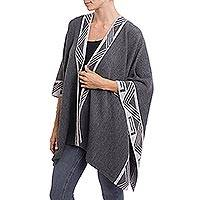 Alpaca blend ruana, 'Geometric Empire in Slate' - Knit Alpaca Blend Ruana in Slate from Peru