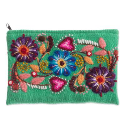 Alpaca blend coin purse, 'Flowers in Love' - Floral Embroidered Alpaca Blend Coin Purse from Peru