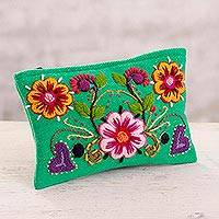 Alpaca blend coin purse, 'Spring Green Bloom' - Embroidered Alpaca Blend Coin Purse with Floral Motifs