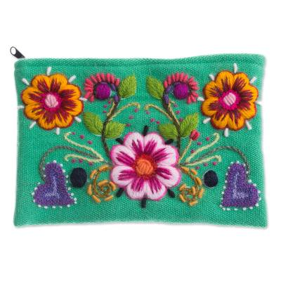 Embroidered Alpaca Blend Coin Purse with Floral Motifs