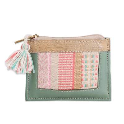 Leather and Cotton Coin Purse in Celadon from Peru