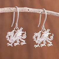 Sterling silver dangle earrings, 'Regal Dragons' - Sterling Silver Dragon Dangle Earrings from Peru