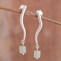 Aventurine dangle earrings, 'Modern Voyage' - Modern Aventurine Dangle Earrings from Peru
