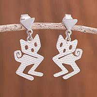 Sterling silver dangle earrings, 'Mystical Cats' - Modern Sterling Silver Cat Dangle Earrings from Peru