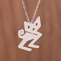Sterling silver pendant necklace, 'Mystical Cat' - Modern Sterling Silver Cat Pendant Necklace from Peru