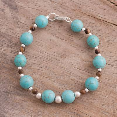 Tiger's eye beaded bracelet, 'Elegant Queen' - Tiger's Eye and Recon. Turquoise Beaded Bracelet from Peru