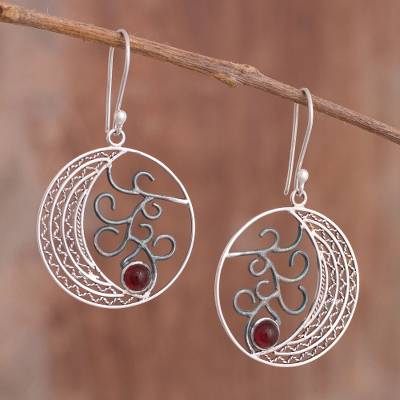 Carnlelian filigree dangle earrings, 'Moonlit Mystery' - Carnelian Filigree Dangle Earrings from Peru