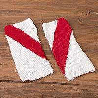 100% alpaca fingerless mitts, 'Crimson Slant' - 100% Alpaca Fingerless Mitts from Peru