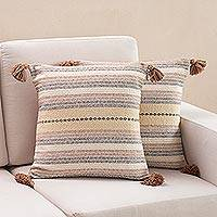 Cotton cushion covers, 'Lost Canyon' (pair) - Earth-Tone Cotton Cushion Covers from Peru (Pair)