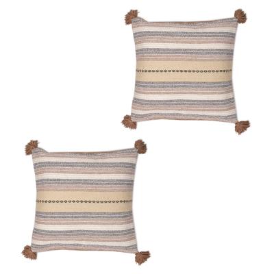 Earth-Tone Cotton Cushion Covers from Peru (Pair)