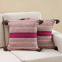 Cotton cushion covers, 'Mystical Dimension' (pair) - Striped Multicolored Cotton Cushion Covers from Peru (Pair)