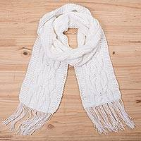 Alpaca blend scarf, 'Snow White Pattern' - Knit Alpaca Blend Wrap Scarf in Snow White from Peru