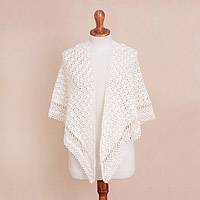 Alpaca blend shawl, 'Dreaming of Cream' - Crocheted Alpaca Blend Shawl in Snow White from Peru