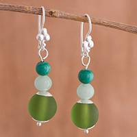 Murano art glass dangle earrings, 'Green Hues' - Murano Art Glass Beaded Dangle Earrings in Green from Peru