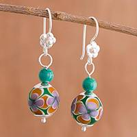 Murano art glass dangle earrings, 'Floral Artistry' - Floral Murano Art Glass Dangle Earrings from Peru