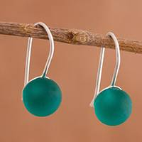 Murano art glass drop earrings, 'Green Spheres' - Murano Art Glass Drop Earrings in Green from Peru