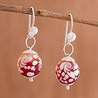 Murano art glass dangle earrings, 'Passionate Swirls' - Swirl Motif Murano Art Glass Dangle Earrings from Peru