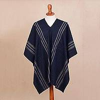 Alpaca blend poncho, 'Chic Andes in Midnight' - Alpaca Blend Poncho in Midnight from Peru