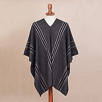 Men's alpaca blend poncho, 'Chic Andes in Graphite' - Men's Alpaca Blend Poncho in Graphite from Peru