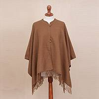 Alpaca blend cape, 'Ginger Warmth' - Alpaca Blend Cape in Solid Ginger from Peru