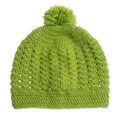 Hand-Knit Hat in Avocado from Peru