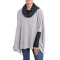 Alpaca blend poncho pullover, 'Beautiful Warmth in Dove Grey' - Knit Alpaca Blend Pullover in Dove Grey from Peru