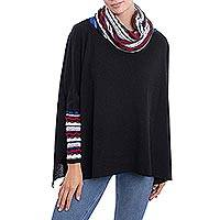 Alpaca blend poncho pullover, 'Festive Streamers' - Knit Alpaca Blend Pullover in Black with Colorful Accents
