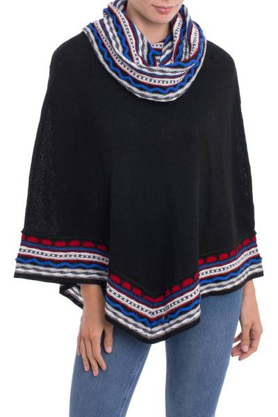 Alpaca blend poncho, 'Festive Streamers' - Knit Alpaca Blend Poncho in Black with Colorful Accents